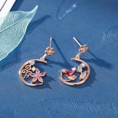 Mode S925 Aiguille En Argent Corée Micro-incrusté Zircon Fleur Oiseau Asymétrique Lune Boucles D'oreilles Nihaojewelry en gros NHXI236872's discount tags