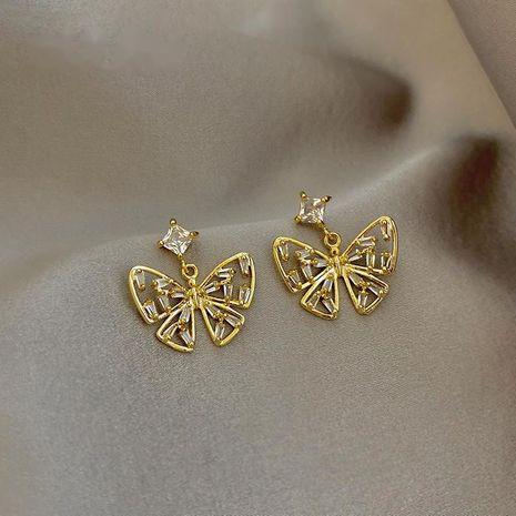 Mode S925 argent aiguille strass petites boucles d'oreilles papillon nihaojewelry en gros NHXI236873's discount tags