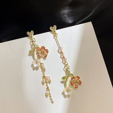Mode fleur amour longues boucles d'oreilles asymétriques 925 boucles d'oreilles en argent nihaojewelry en gros NHXI236874's discount tags