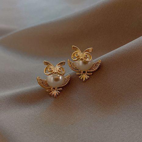 Mode nouveau S925 petites boucles d'oreilles en alliage de hibou perle nihaojewelry en gros NHXI236877's discount tags