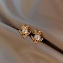 Fashion new  S925 small pearl owl  alloy earrings nihaojewelry wholesale NHXI236877