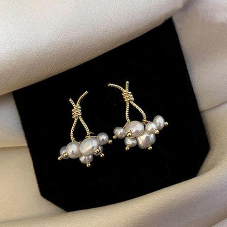 Mode nouvelle tendance simple S925 argent aiguille noeud petite perle pendentif boucles d'oreilles nihaojewelry en gros NHXI236878's discount tags