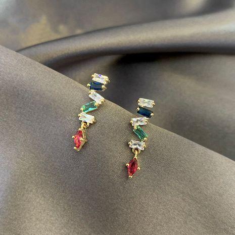 Mode Corée Boucles D'oreilles En Zircon Coloré 925 Boucles D'oreilles À L'aiguille En Argent Longues Boucles D'oreilles Pour Femmes Nihaojewelry NHXI236879's discount tags