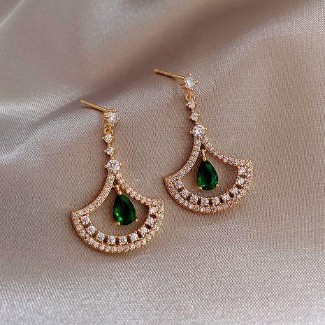 Mode 925 argent aiguille lumière mode goutte d'eau plein diamant boucles d'oreilles en forme d'éventail boucles d'oreilles coréennes nihaojewelry NHXI236881's discount tags