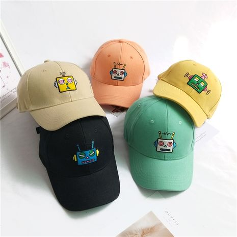 Korean robot embroidery baseball hat pure color children cute cartoon sun hat wholesale nihaojewelry NHCM236921's discount tags