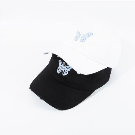 Fashion broken edge embroidery butterfly baseball cap soft top black breathable sunscreen cap women summer nihaojewelry NHTQ236972's discount tags