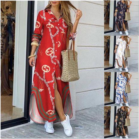 automne nouvelle mode à manches longues chaîne chemise imprimée jupe longue robe en gros nihaojewelry NHYF236980's discount tags