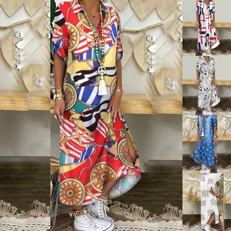 automne et hiver nouvelle robe chemise imprimée à manches dames robe longue en gros nihaojewelry NHYF236981's discount tags