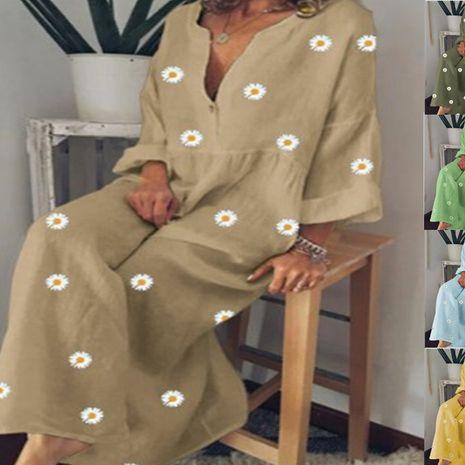 nouvelle robe à manches longues ample en coton et lin imprimé marguerite pour femme en gros nihaojewelry NHYF236982's discount tags