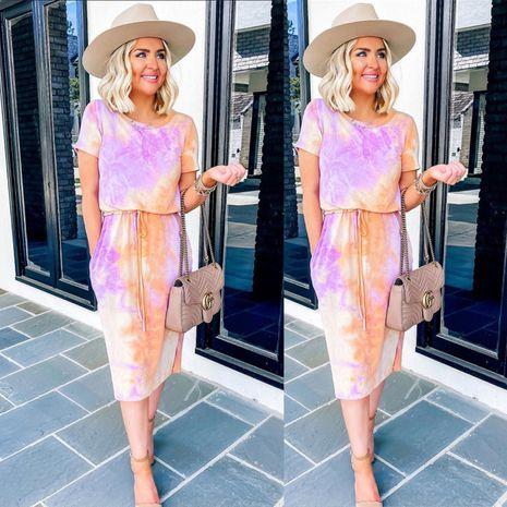robe une pièce à manches courtes tie-dye ample pour femme en gros nihaojewelry NHYF236983's discount tags