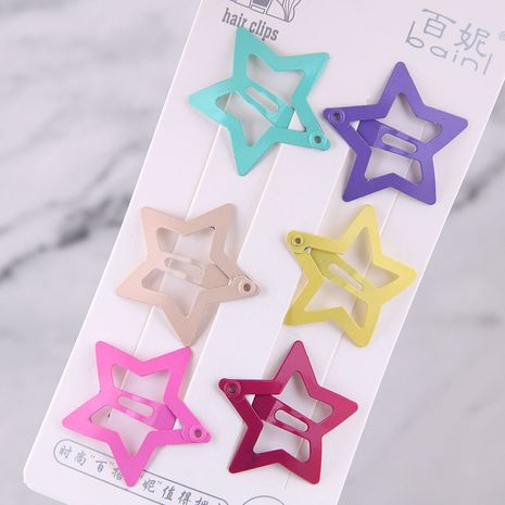 Fashion hairpin for children Candy color cute children's hair clip five-pointed star hairpin side clip Korea small clip hairpin  NHSC237363's discount tags