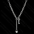 Fashion Stainless steel key necklace simple niche pendant small lock clavicle chain for women nihaojewelry NHHF237016