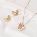 Fashion new set of jewelry simple versatile opal butterfly necklace elegant white motherofpearl butterfly earrings nihaojewelry NHDP237061