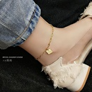 Fashion Allmatch long chain letters lucky square anklet stainless steel anklet nihaojewelry NHOK237172