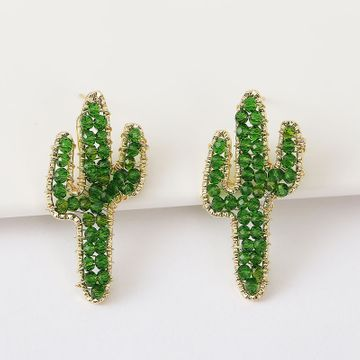 Korean cute hand-woven cactus crystal earrings beaded plant earrings jewelry wholesale nihaojewelry NHLA237183