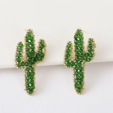 Korean cute hand-woven cactus crystal earrings beaded plant earrings jewelry wholesale nihaojewelry NHLA237183's discount tags