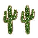 Korean cute handwoven cactus crystal earrings beaded plant earrings jewelry wholesale nihaojewelry NHLA237183
