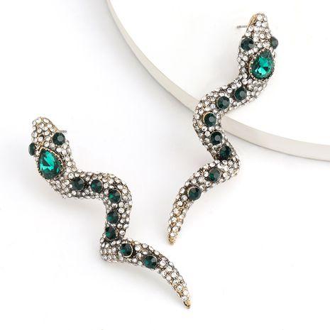 Creative alloy diamond rhinestone boa constrictor earrings alternative earrings wholesale nihaojewelry NHJE237185's discount tags