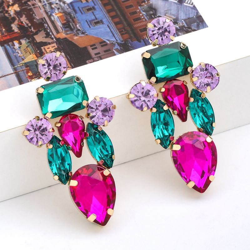 Fashion colored series multi-layer alloy diamond-studded glass diamond exaggerated earrings wholesale nihaojewelry NHJE237186