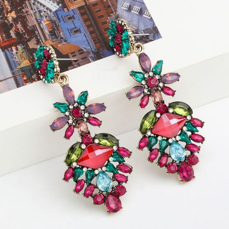 Fashion colored series multi-layer alloy diamond-studded rhinestone flower earrings bohemian ethnic style wholesale nihaojewelry NHJE237187's discount tags