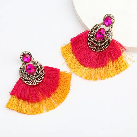 hot sale alloy diamond glass diamond double fan-shaped tassel ethnic style earrings wholesale nihaojewelry NHJE237191's discount tags