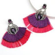 hot-selling alloy glass diamond double fan-shaped tassel earrings retro ethnic style earrings wholesale nihaojewelry NHJE237192