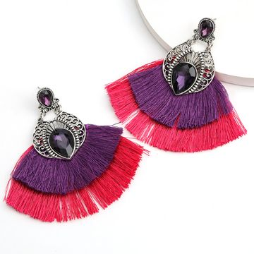 hot-selling alloy glass diamond double fan-shaped tassel earrings retro ethnic style earrings wholesale nihaojewelry NHJE237192