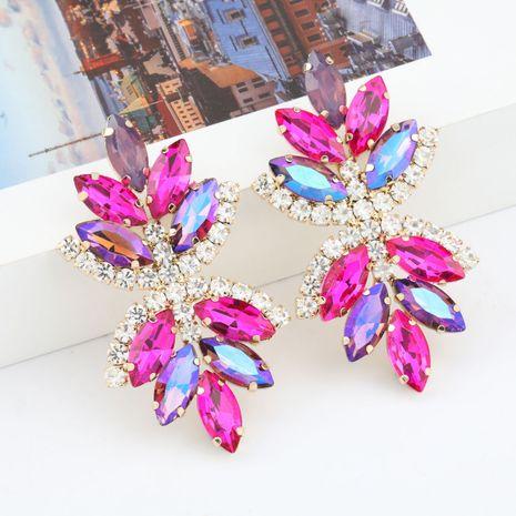 Boucles d'oreilles de fleurs en strass en alliage multicouche en alliage multicouche à la mode en gros nihaojewelry NHJE237193's discount tags