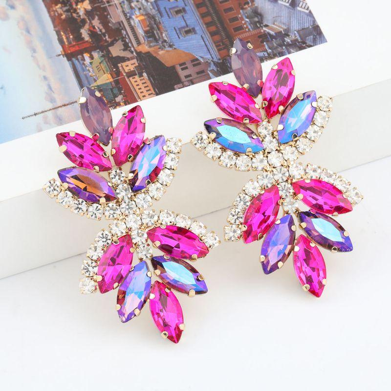 Fashion colored series multi-layer alloy diamond-studded rhinestone flower earrings wholesale nihaojewelry NHJE237193