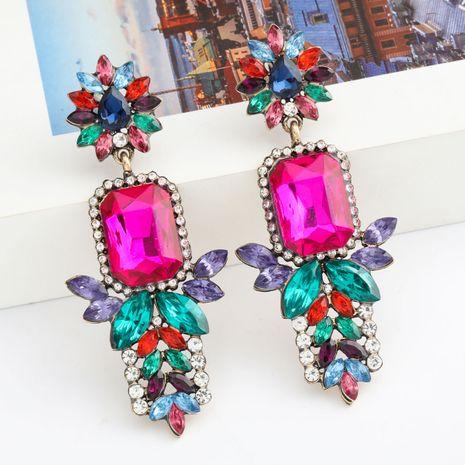 Mode Couleur Diamant Série Multicouche Alliage Diamant Strass Boucles D'oreilles En Verre En Gros Nihaojewelry NHJE237195's discount tags