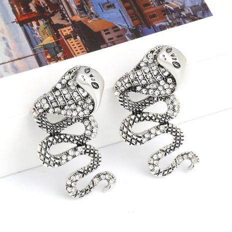 Creative alloy diamond rhinestone cobra earrings alternative earrings wholesale nihaojewelry NHJE237198's discount tags