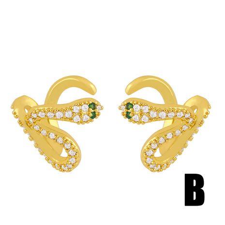 irregular ear bone clip snake-shaped ear clip geometric C-shaped diamond no pierced earrings wholesale nihaojewelry NHAS237202's discount tags
