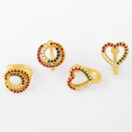 new love earrings ear bone clip diamond rainbow ear clip without pierced earrings wholesale nihaojewelry NHAS237203's discount tags