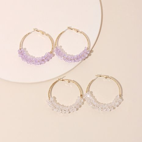 Korean exaggerated geometric big circle purple transparent crystal earrings hipster simple ring earrings wholesale nihaojewelry NHRN237206's discount tags