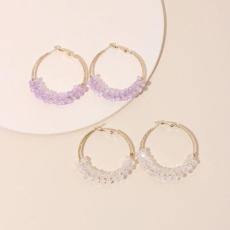 Coréen exagéré géométrique grand cercle violet boucles d'oreilles en cristal transparent hipster boucles d'oreilles simples en gros nihaojewelry NHRN237206's discount tags