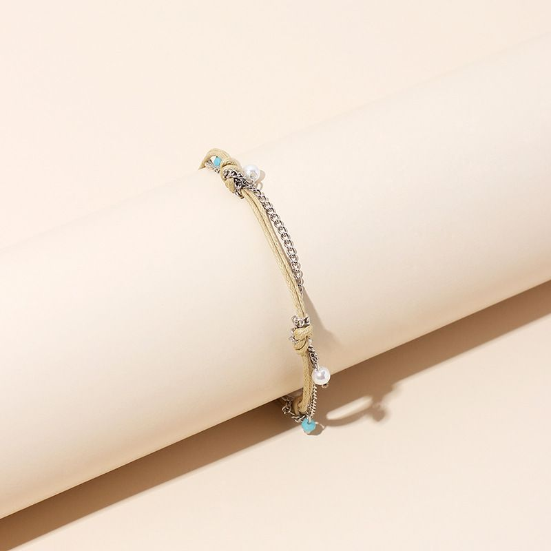 Fashion Niche wax rope women's anklet sexy Korean simple new pearl anklet for women nihaojewelry NHRN237211