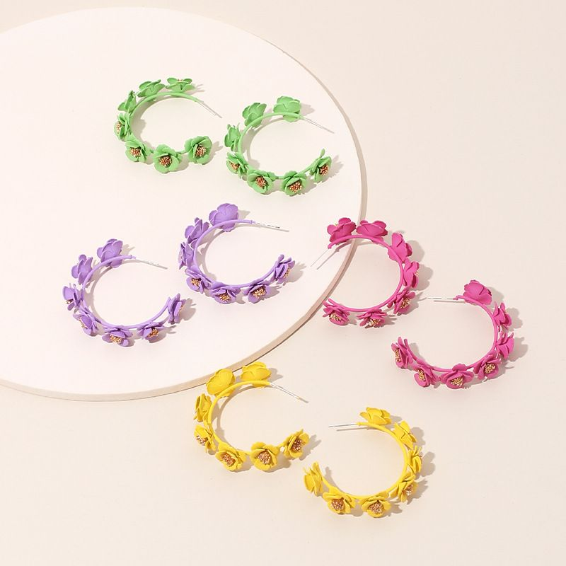 Fashion new earrings geometric C shape cute flower handmade candy color wreath earrings wholesale nihaojewelry NHRN237220