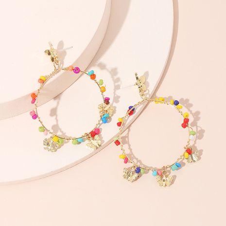mode papillon pendentif boucles d'oreilles exagéré géométrique grand cercle couleur riz perles boucles d'oreilles en gros nihaojewelry NHRN237222's discount tags