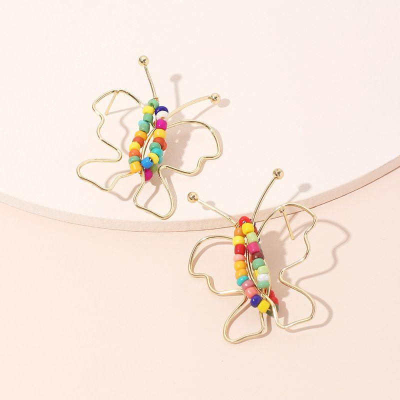 Hot sale fashion line butterfly rice bead earrings wholesale nihaojewelry NHRN237224