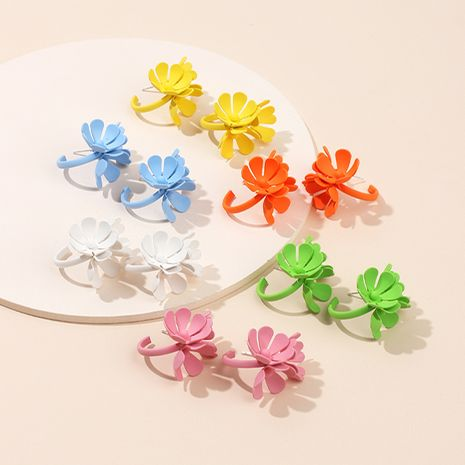 new Korean sweet girl Sen flower earrings candy color spray paint metal earrings wholesale nihaojewelry NHRN237225's discount tags