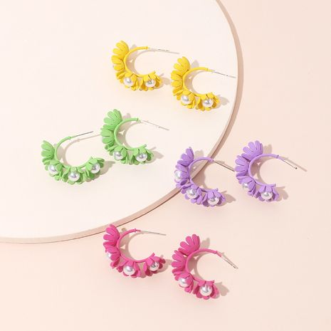 Hot sale Korea candy color cute flower earrings C-shaped wreath childlike pearl earrings wholesale nihaojewelry NHRN237227's discount tags
