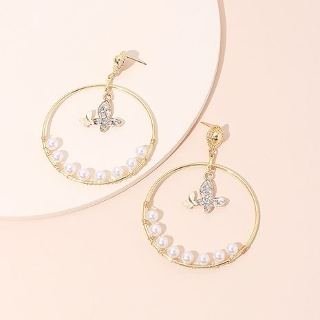 all-match diamant papillon pendentif cercle géométrique boucles d'oreilles perles en gros nihaojewelry NHRN237228's discount tags