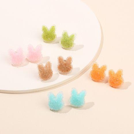 Korean candy color fashion earrings cute small resin rabbit earrings simple wild love star earrings for women nihaojewelry NHRN237233's discount tags