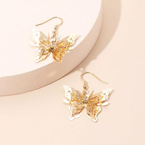 Modèles de vente chaude de mode boucles d'oreilles en zircon boucles d'oreilles papillon en trois dimensions en or pour femmes nihaojewelry NHRN237238's discount tags