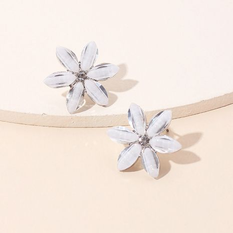Korea glass diamond flower earrings fashion petal earrings wholesale nihaojewelry NHRN237239's discount tags
