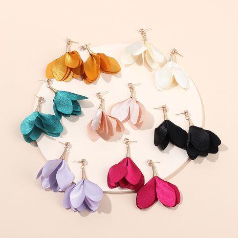 Boucles d'oreilles coréennes longues fleurs pétales multicolores boucles d'oreilles zircon en gros nihaojewelry NHRN237249's discount tags