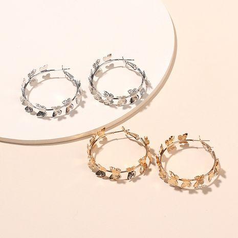 papillon doré volant anneau rond boucles d'oreilles en métal propagation boucles d'oreilles cercle géométrique en gros nihaojewelry NHRN237250's discount tags