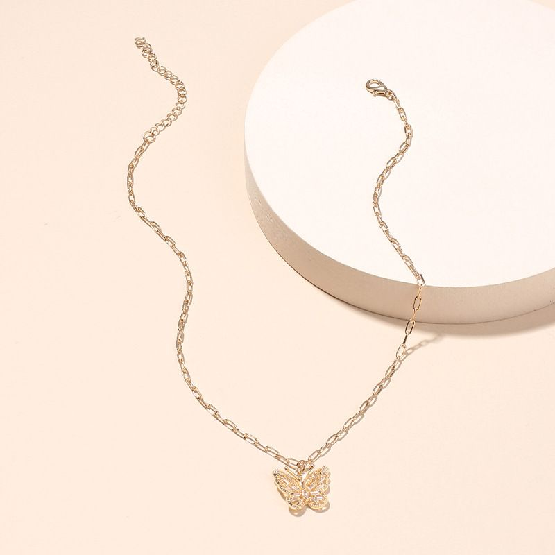 Korean fashion womens butterfly pendant clavicle necklace trend diamond zircon necklace nihaojewelry NHRN237255