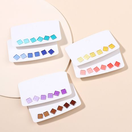 Korean sweet  pure color gradient resin earrings set simple style geometric square candy color earrings wholesale nihaojewelry NHRN237258's discount tags