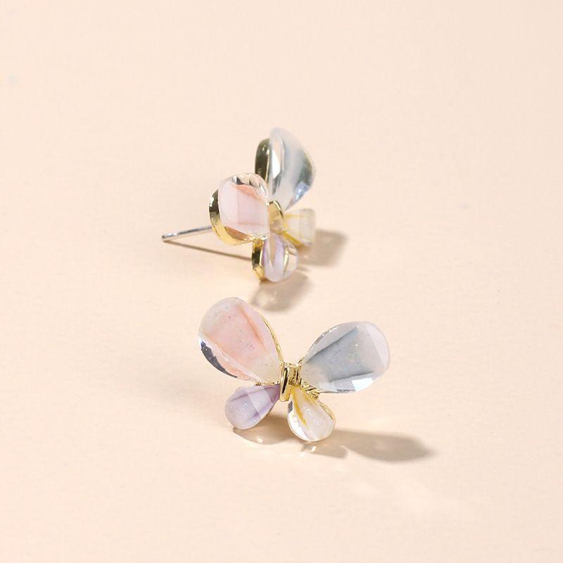 Korea Fashion Stained Glass Rhinestone Earrings Popular Jewelry Sweet Butterfly Silver Earrings wholesale nihaojewelry NHRN237261